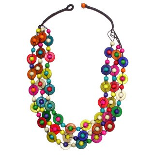 Multi Color Bead 3-Strand Coconut Shell Necklace