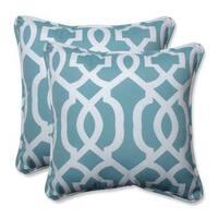 Pillow Perfect Outdoor/ Indoor New Geo Aqua 16.5-inch Throw Pillow (Set of 2)