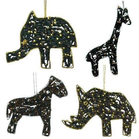 Latri's Elephant, Giraffe, Lion, And Rhino Ornaments Made With Cloves & Beads
