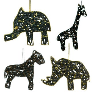 Latri's Elephant, Giraffe, Lion, And Rhino Ornaments Made With Cloves & Beads