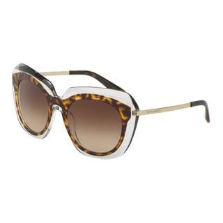 D&G Women's DG4282F 757/13 Havana Plastic Irregular Sunglasses