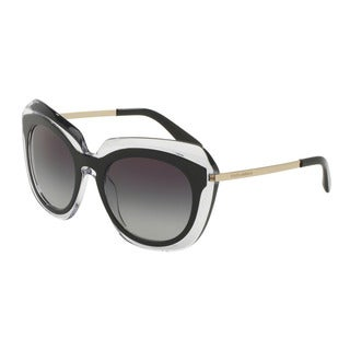 D&G Women's DG4282F 675/8G Black Plastic Irregular Sunglasses