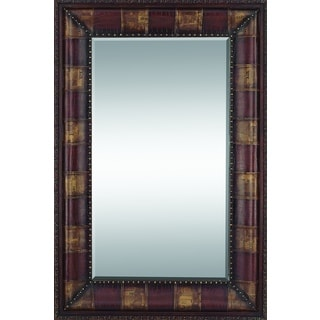 70 Inches High Rectangular Wood Leather Mirror
