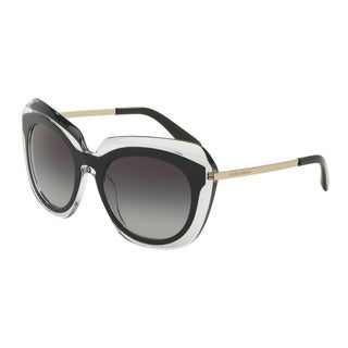 D&G Women's DG4282 675/8G Black Plastic Irregular Sunglasses