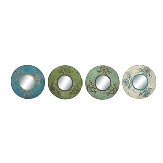 Round Shaped Metal Wall Mirror Decor Set Of Four