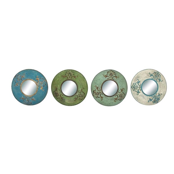 Round Shaped Wall Decor : Round shaped metal wall mirror decor set of four free