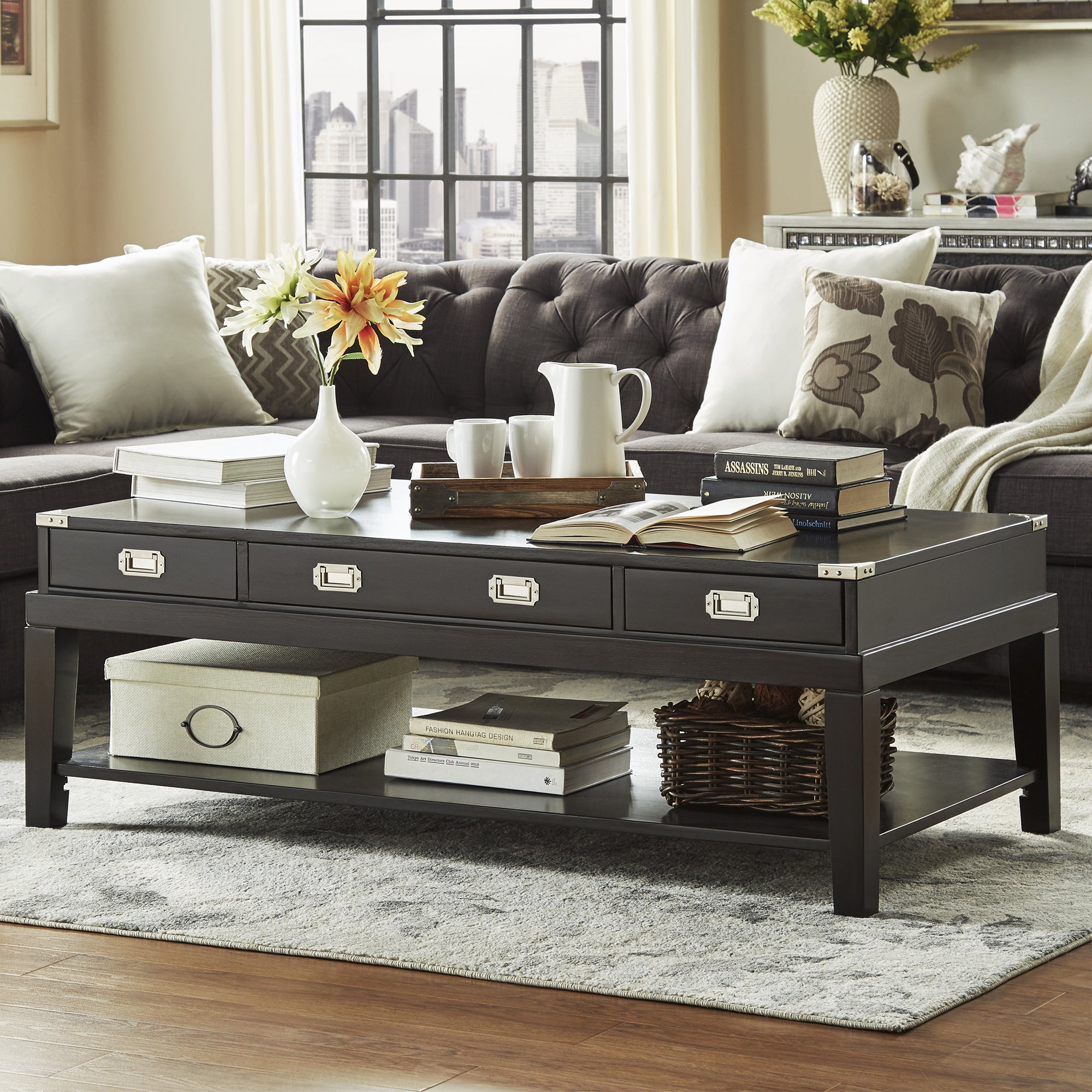 Lonny Wood Storage Accent Campaign Coffee Table by iNSPIRE Q