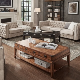 Lonny Wood Storage Accent Campaign Coffee Table by iNSPIRE Q Classic