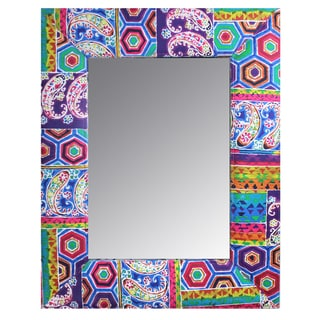 Uniquely Designed Wood And Fabric Framed Mirror By Entrada