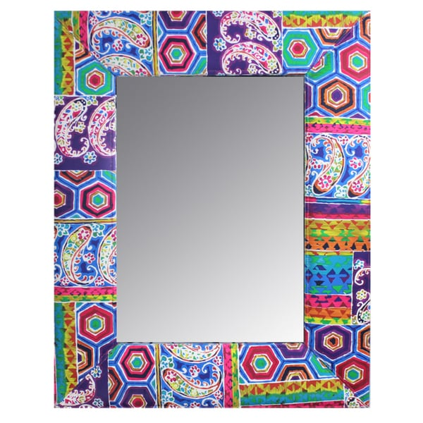 Shop Uniquely Designed Wood And Fabric Framed Mirror By