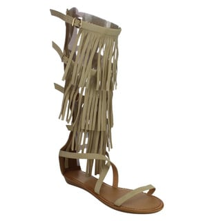 Beston DC03 Fringe Knee High Gladiator Sandals