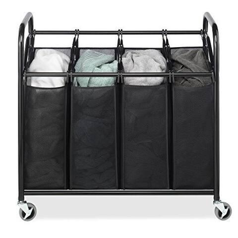 Whitmor 4-Bag Laundry Sorter Storage Basket Bin Organizer Washing Bag