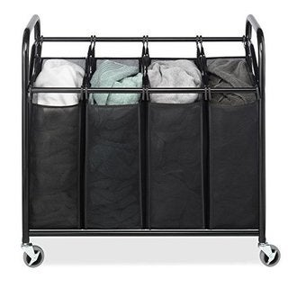 Whitmor WH 6070 3529 Black 4 Section Laundry Sorter