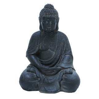 Fiber Stone Buddha With Elegant Detailing In Black Color