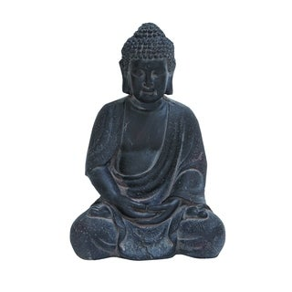 Durable Fiber Clay Buddha Glanced With Antiqued Black Finish