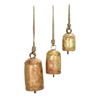 """Metal Rope Cow Bell Set/3 22"""", 18"""", 12"""" Unique Home Accents"""