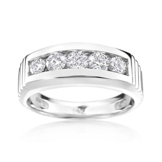 Andrew Charles 14k White Gold Men's 1 1/5ct TDW Diamond Ring (H-I, SI2-I1)