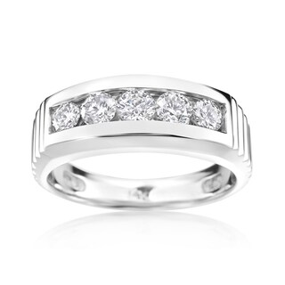 Andrew Charles 14k White Gold Men's 1 1/5ct TDW Diamond Ring