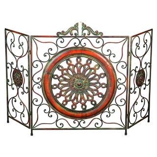 The Curated Nomad Castenada Antique Metal Fire Screen with Medallion Center