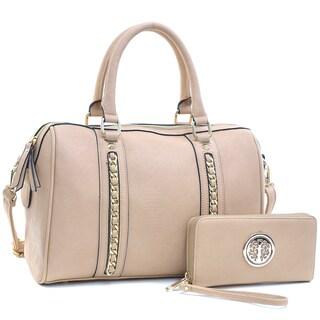 Dasein Women's Faux Leather Medium Satchel & Emblem Embossed Zip Around Wallet