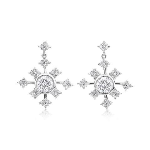 SummerRose 14k White Gold 1 3/8ct TDW Earrings - White H-I