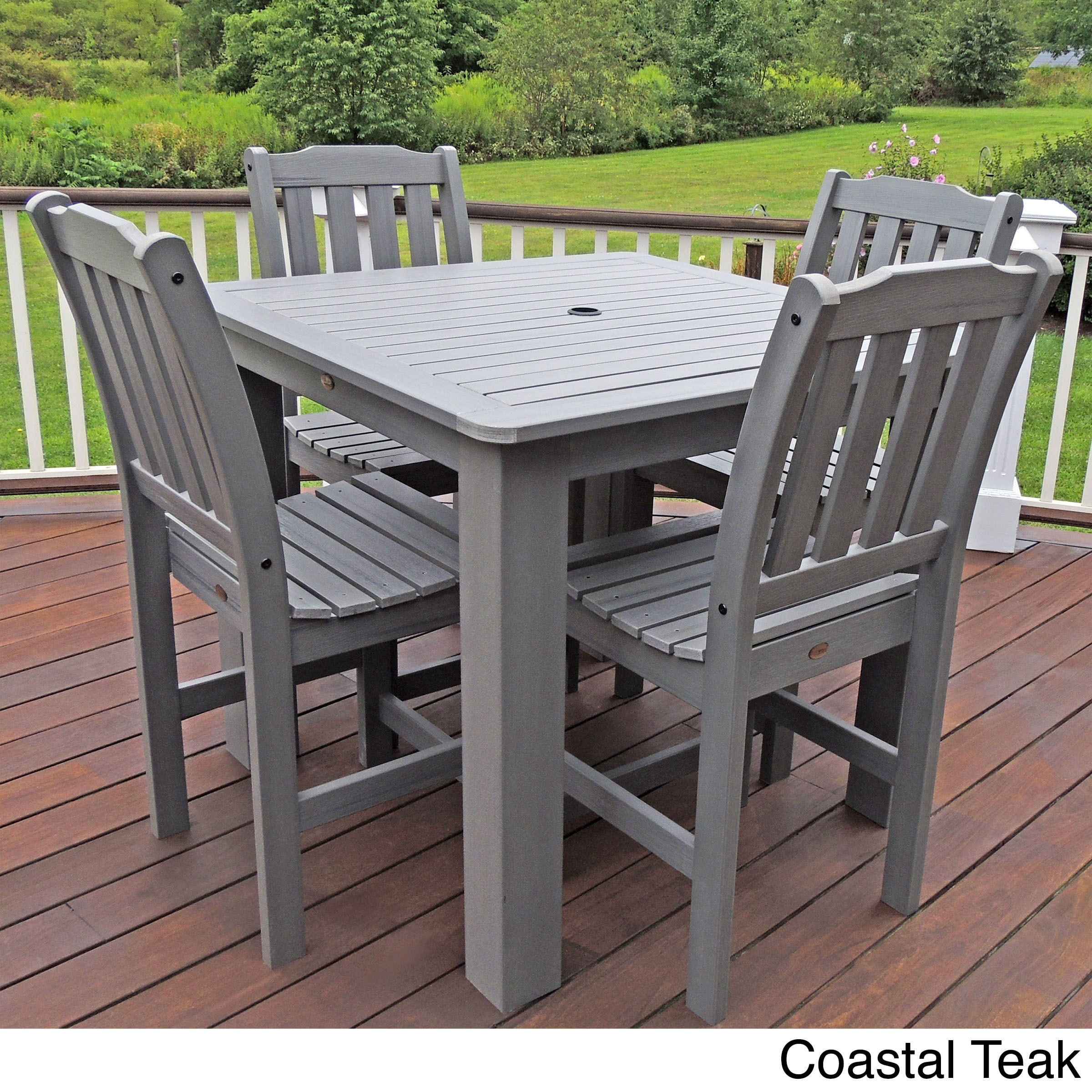 Highwood USA Lehigh Piece Bar Height Dining Set Coastal Teak EBay - Teak bar height table and chairs