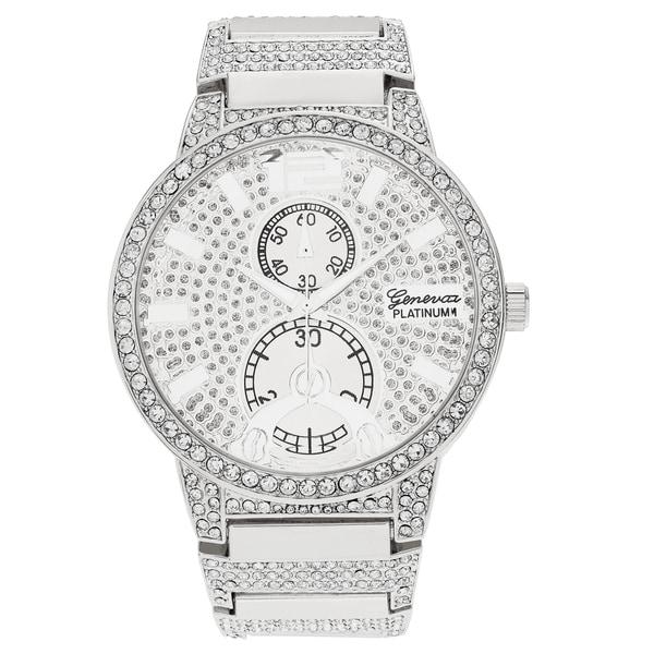 Geneva Platinum Men's Rhinestone Link Bracelet Watch
