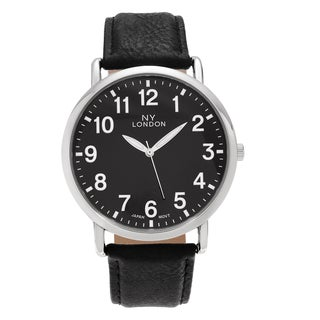 NY London Men's Large Face Faux Leather Strap Watch