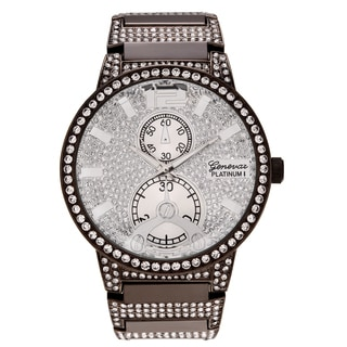 Geneva Platinum Men's Rhinestone Link Bracelet Watch