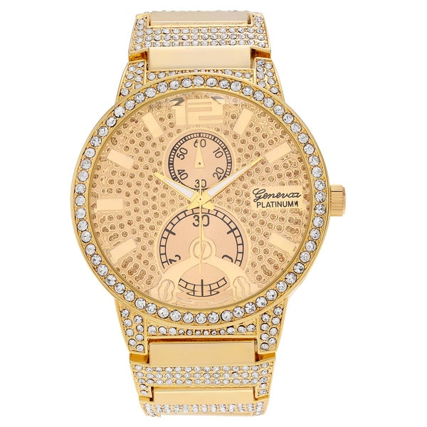 Geneva Platinum Men's Rhinestone Link Bracelet Watch - Gold