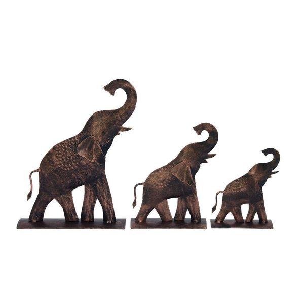 Creative Metal Elephant (Set Of 3) Pcs