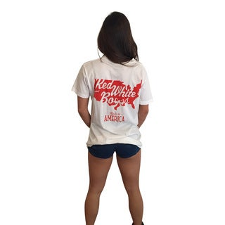 Red White and Bows Women's White Cotton Short-sleeve Pocket T-shirt