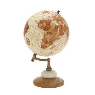 Havenside Home Buckroe Warm-toned Wood Metal Marble Globe