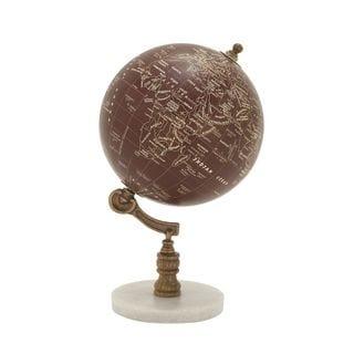 94447 Charming Wood Metal Marble Globe