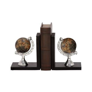 Modish Wood Aluminum Globe Bookend Pr