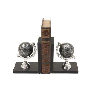Smart Wood Aluminum Globe Bookend Pr