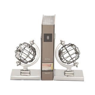 Appealing Aluminum Globe Bookend Pair