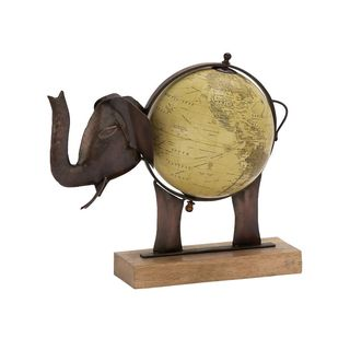 Stunning Metal Wood Elephant Globe Bronze
