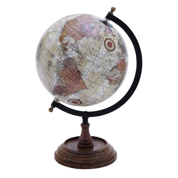 Wooden And Metal Globe In Brown Finish And Intricate Detailing