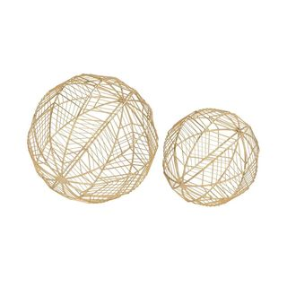 Fashionable Metal Wire Orb Gold (Set Of 2)