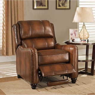 vintage living room furniture. Lowry Vintage Brown Premium Top Grain Leather Recliner Chair Living Room Furniture For Less  Overstock com