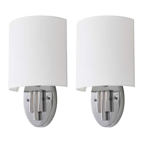"Safavieh Lighting Darlene Chrome Wall Sconce (Set of 2) - 9""x4.75""x14.75"""