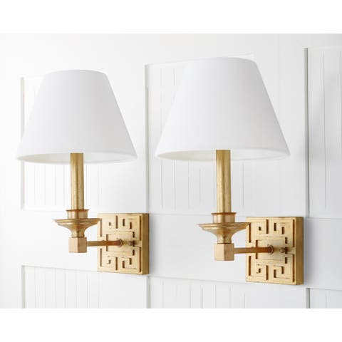 "Safavieh Lighting Elvira Gold Leaf Wall Sconce (Set of 2) - 9""x10""x15"""