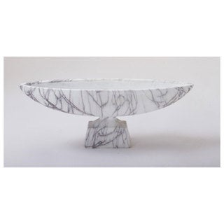 Polyresin White Marble Long Bowl