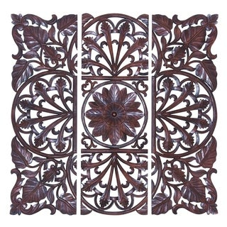 Brown Wooden Wall Plaque - (Set Of 3)