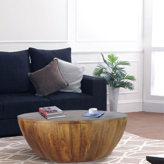 Mango Wood Coffee Table In Round Shape, Dark Brown
