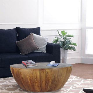 The Urban Port Coffee Table In Round Shape With Distressed Finish