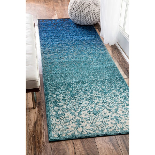 Turquoise Runner Rug: NuLOOM Modern Abstract Vintage Turquoise Runner Rug (2'7 X