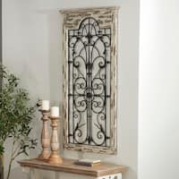 Studio 350 Wood Metal Wall Decor 51 inches high, 27 inches wide - White