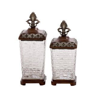 Antique Themed Polystone Glass Jar (Set Of 2)